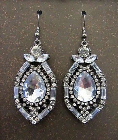 Large Clear Crystal Statement Earrings