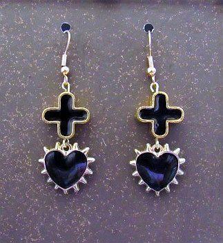 Black & Gold Spiked Heart & Cross Earrings