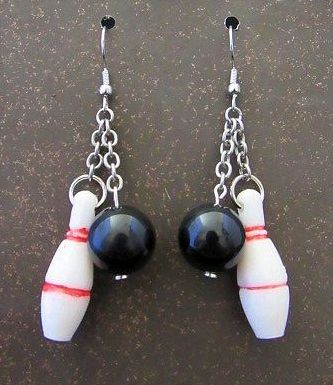 Bowling Pin /& Bowling Ball Earrings on sterling silver earwires Bowling