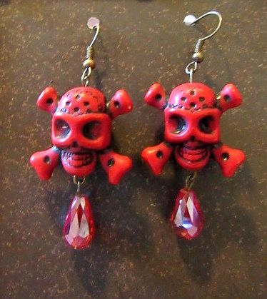 Red Skull & Crossbones with Red Crystal Dangle