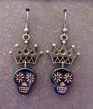 Black Czech Glass Skulls with Gold Crowns Earrings
