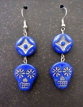 Czech Glass Blue Skulls with Gold Accenting Earrings
