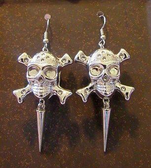 Silver Acrylic Skull & Crossbones with Spike Earrings