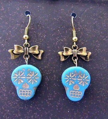 Blue Czech Glass Skulls with Gold Bows Earrings