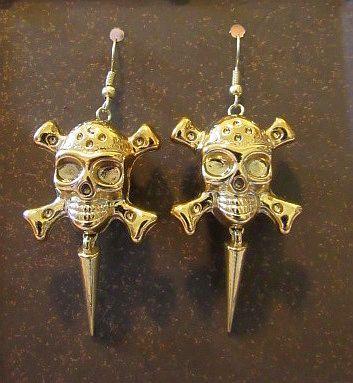 Gold Acrylic Skull & Crossbones with Spike Earrings