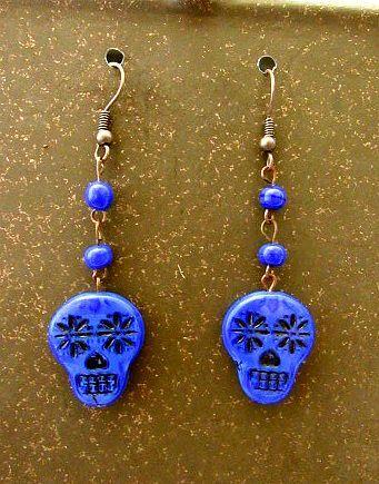 Royal Blue Czech Glass Skull Dangle Earrings