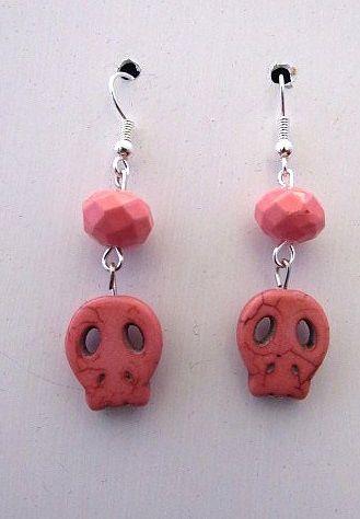 Peach Colored Stone Skull Earrings