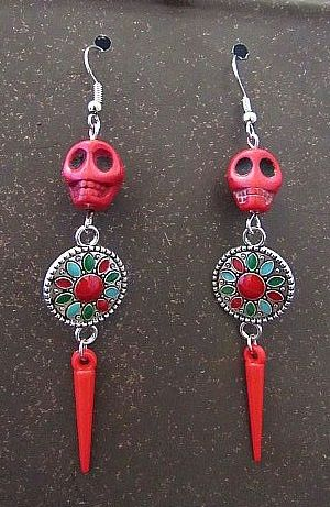 Red Stone Skulls with Colorful Connectors & Spike Earrings