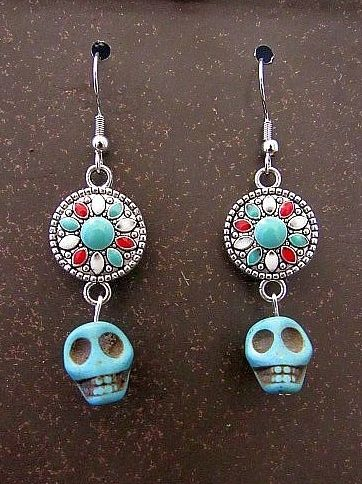 Light Blue Stone Skulls with Colorful Connectors Earrings