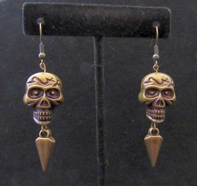 Dark Gold Acrylic Skulls with Spikes Earrings
