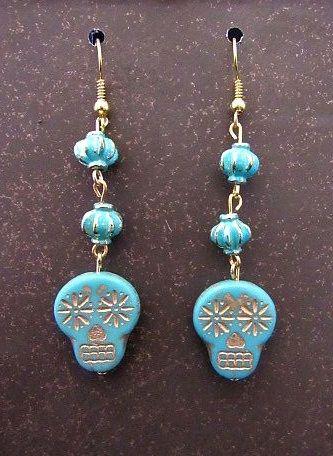 Blue & Gold Czech Glass Skulls with Matching Beads Earrings