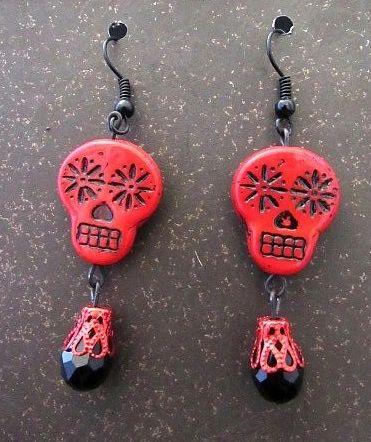 Black & Red Czech Glass Skulls with Matching Dangle Earrings