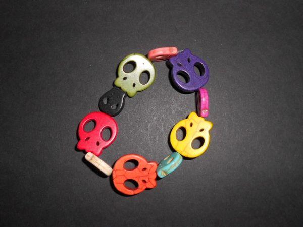 Rainbow Skulls Stretch Bracelet