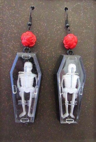 Long Skeleton in Coffin with Roses Earrings