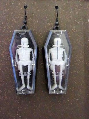 Skeletons in Coffins Long Dangle Earrings