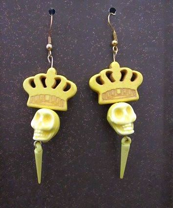 Yellow Ceramic Skulls with Crowns & Spikes