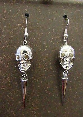 Silver Skulls with Spikes Earrings