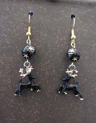 Hand-Painted Black & Gold Deer Earrings with Starburst Beads