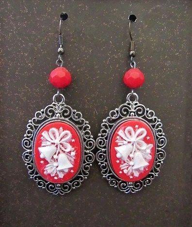 Christmas Bells Red & White Cameo Earrings