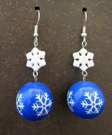 Blue & White Snowflake Earrings