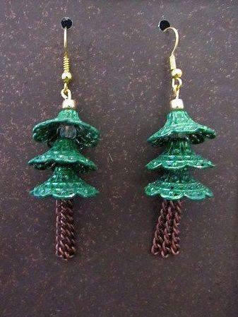 Hand-Painted Christmas Tree Dangle Earrings