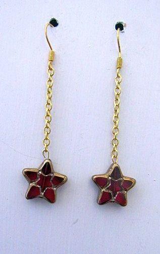Red & Gold Czech Glass Star Dangles