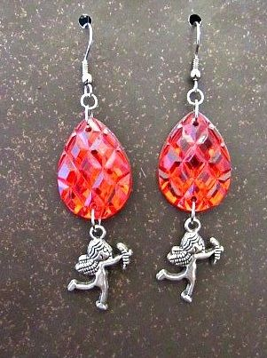 Red Faux Gems & Silver Cupids Valentine Earrings