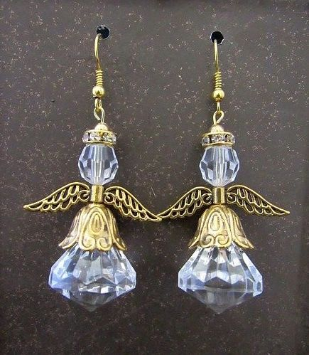 Clear Crystal Angels with Gold Accents Earrings