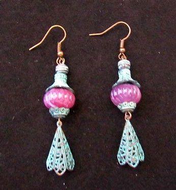Green Patina with Purple Bead Asian Lantern Earrings