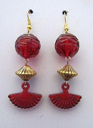 Red Asian Bead Earrings with Fan Charm & Gold Spacers