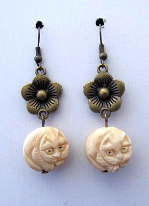 Asian Netsuke Cat Bead Earrings with Gold Cherry Blossom Connectors