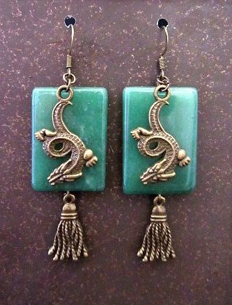 Faux Jade Earrings with Golden Dragons & Tassels