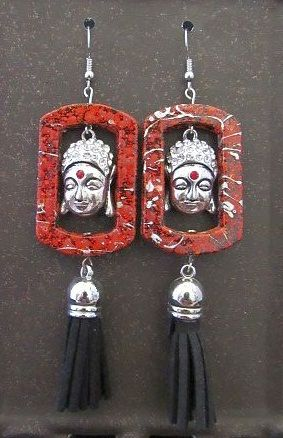 Red Frame Earrings with Silver Asian Buddha Heads & Black Tassels