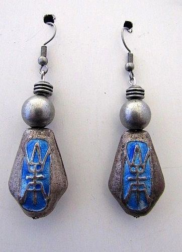 Vintage Asian Word Beads with Rustic Silver & Blue Beads