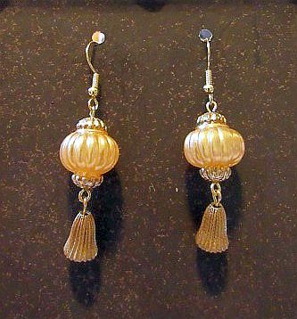 Delicate Golden Yellow Asian Latern Earrings with Gold Tassels