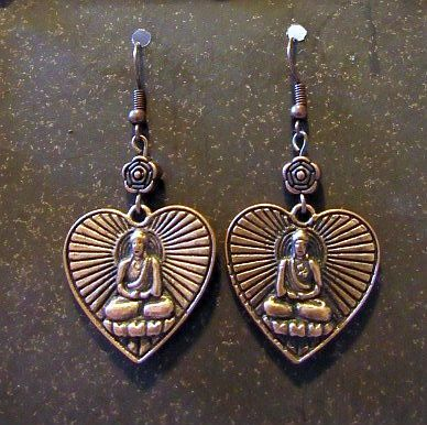 Asian Buddha Heart Charm Earrings with Flower Accents
