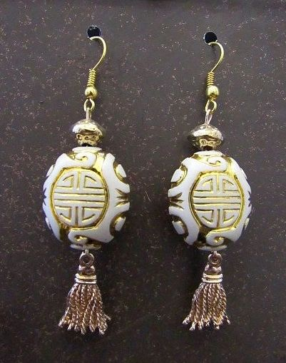 Gold & White Asian Bead Earrings with Gold Tassels