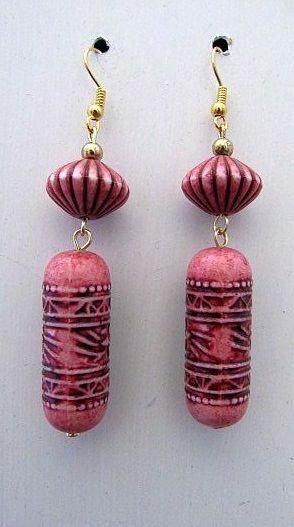 Pink & Black Look Asian Dangle Earrngs