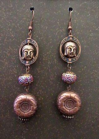 Copper Asian Buddha Head & Coin Earrings