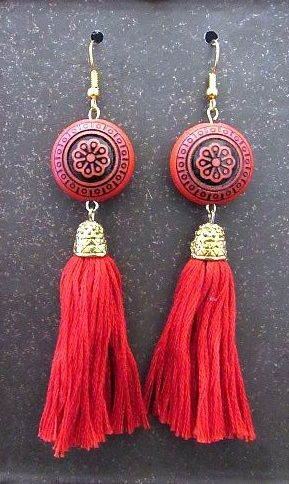 Red & Black Asian Bead with Red Yarn Tassels
