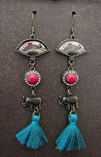 Asian Fan Earrings with Blue Tassels & Elephant Charms