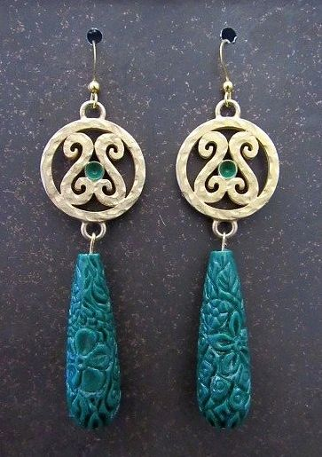 Asian Look Dark Green Etched Teardrop Earrings with Gold Connectors