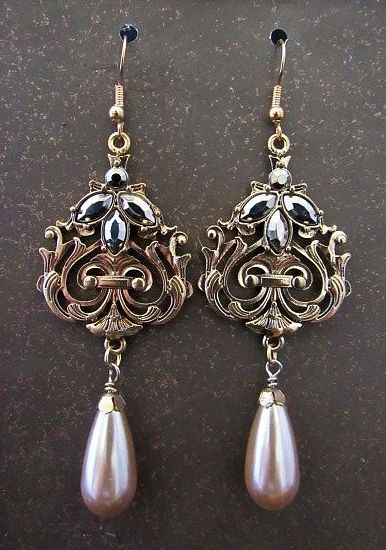 Gold Victorian Dangles with Gun Metal Stones & Silver Pearl Teardrops