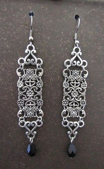 Long Silver Filigree Victorian Earrings with Black Teardrop Dangles