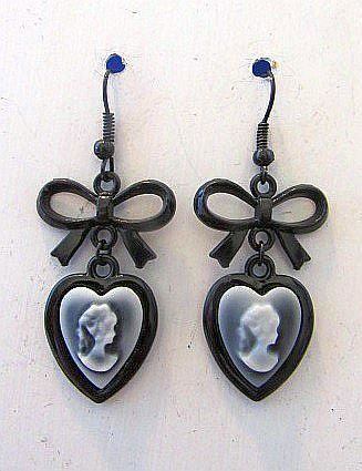 Gothic Victorian Black & Gray Cameo Earrings with Bows