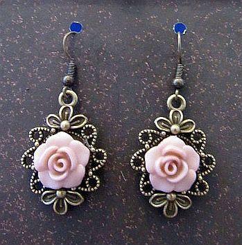 Romantic Pink Rose Victorian Look Earrings