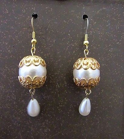 White Pearl Victorian Dangles with Gold Caps Earrings