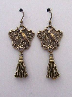 Gold Victorian Art Nouveau Bird Earrings wth Tassels