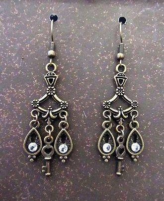 Delicate Victorian Chandelier Earrings with Dangles & Keys