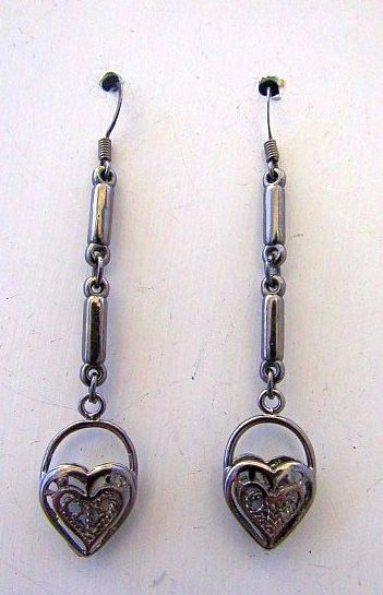 Victorian Heart Drops in Gun Metal Gray Dangle Earrings